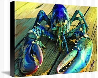 Blue Lobster Painting (on stretched canvas)