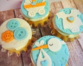 12 Baby Shower Edible Fondant Cupcake Toppers - Baby Boy - Baby Girl - Stork - Buttons