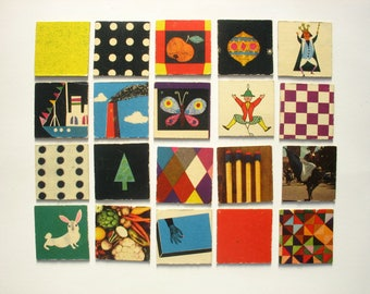 20 vintage memory game cards, retro game pieces from 1960, including Charles Eames designed cards