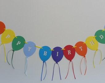 Happy Birthday rainbow balloon bunting. Birthday party decoration bunting banner garland.