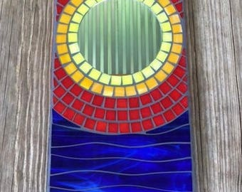 Stained Glass Mosaic Mirror, Wall Hanging Mirror, Rectangular Mirror, Primary Colors, Blue Waves, Sunset Design