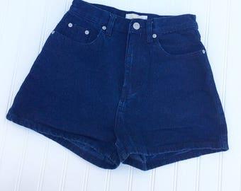Vintage High Waisted Dark Wash Denim Shorts - by Jean Jer