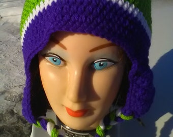 Large adult Purple and Lime green crocheted earflap hat,large adult hat,braided hat,winter earflap hat