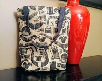 mustache burlap tote bag - top hat victorian tote bag - unique travel bag - book bag