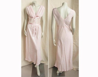 Vintage 1950s Nightgown Rayon with Lace Midriff SUPERFIT Unworn Lingerie