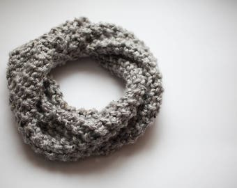 Gray Tweed Seed Stitch Cowl