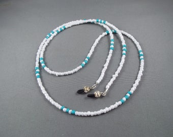 Blue and white beaded eyeglasses holder chain ,you choose length , stylish lanyard for holding any eyeglasses or sunglasses new cute design