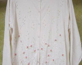 Yarnworks L White Embroidered Beaded Cotton Button Cardigan Sweater