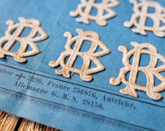 Wonderful rare handmade antique ecru French lace Monogram 'R B' appliques or incrustations, card making, lace making, vintage wedding