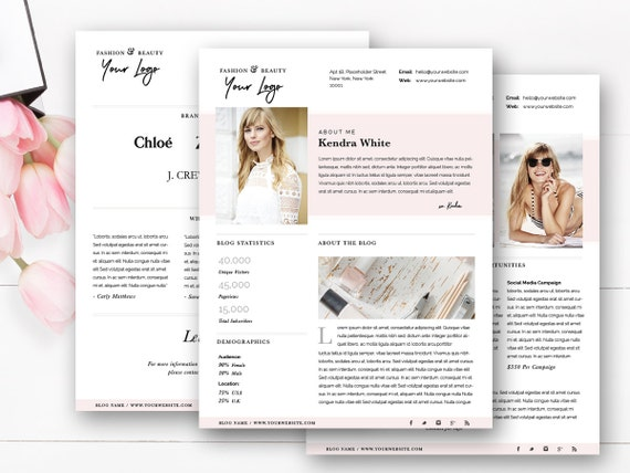 Media kit template 4 page blogger media kit blog media press media kit template 4 page blogger media kit blog media press kit template electronic press kit indesign photoshop ms word pronofoot35fo Image collections
