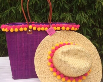 Beach Basket OR Panama Hat, Bright Mauve with Giant Pom poms, Monogram For Free