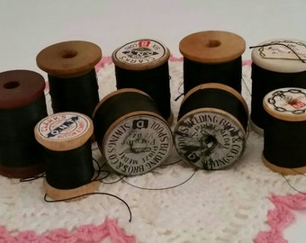 Wooden Spools Vintage Black Thread Collection