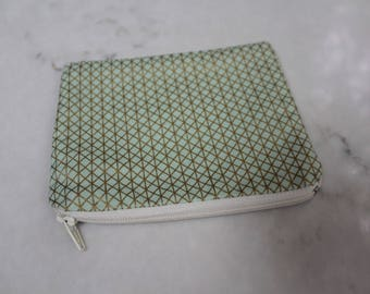 Mint Green & Gold Patterned Mini Zippered Coin Pouch