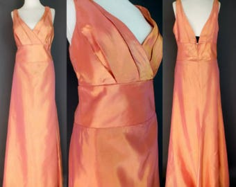 Glam Metallic Iridescent Orange Pink Deep V Empire Waist Party Evening Prom Party Dress Gown XL