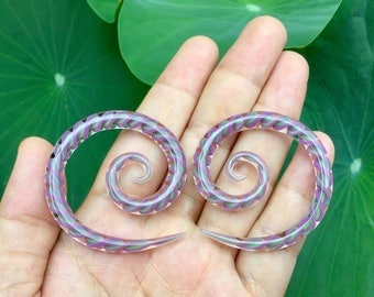 "Mauve & Jade Encased Twist Super Spirals Glass 6g 4g 2g 0g 00g 7/16"" 1/2"" 9/16"" 5/8"" 4 mm 5 mm 6 mm 8 mm 10 mm - 16 mm"