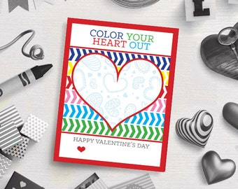 PRINTABLE Color Your Heart Out Crayon Valentine's Day Card - Classroom Cards - Valentine's Gift Tags - Digital Download