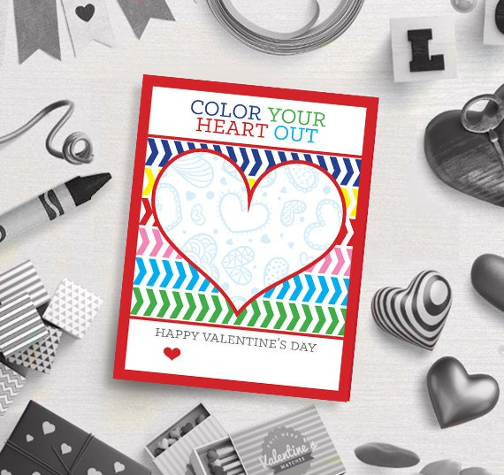 PRINTABLE Color Your Heart Out Crayon Valentine's Day Card