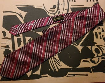 1960s  Neck Tie -Burgundy and Grey- by Liemandt's -Texturized Geometric Pattern - Wide Tie-