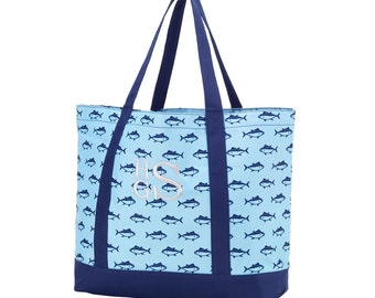 Monogrammed Tote Bag Blue Finn Personalized Bridesmaids Gifts Monogrammed Gifts for Her/Him