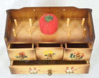 Hand Painted Vintage Sewing Box