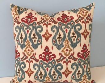 Ikat Throw Pillow Cover. Burgundy, Blue, Gold, Tan Sofa Pillow. Fall