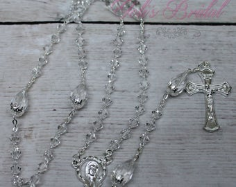 FAST SHIPPING!! Handcrafted Beautiful Crystal Rosary, Communion Rosary, Rosary Gift, Confirmation Rosary, Christening Rosary, Baptism Gift