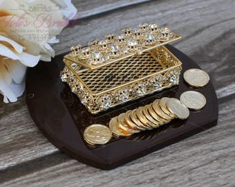 NEW!! Gold Wedding Arras,Ring Box, Arras de Boda, Unity Coins, Treasurer Chest Wedding Arras, Silver Wedding Arras, 13 wedding Unity Coins