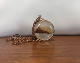 Handmade Pendant - Real Balsam Fir in Resin - Salvaged Copper Bezel