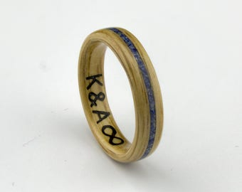 Bentwood Ring Handcrafted In  Oak wood with Lapis Lazuli  Inlay //Wooden Jewelry//wood ring for women[Engraving is not included ]
