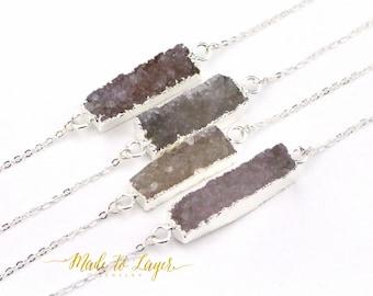 Druzy Necklace, Drusy Necklace, Geode Necklace, Crystal Necklace, Quartz Necklace, Gemstone Necklace, Stone Necklace, Bar Necklace,