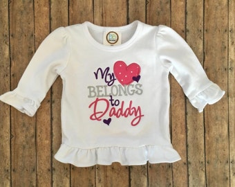 My Heart Belongs to Daddy Applique Shirt