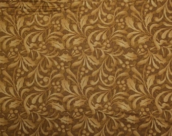 Bernartex SANTA'S HERE (Holly Blender-Brown) 100% Cotton Premium Quality Fabric - sold by 1/2 yard