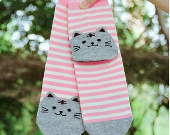Pink Kitty Striped Socks