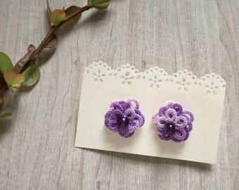 "Earrings ""Rose"" in, cotton, handmade tatting pin violet shaded"