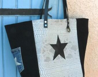 Designer tote bag gray, black Croc leather, Pocket jean, Star, leather handles