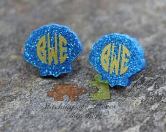 Blue Glitter Monogram Seashell Earrings