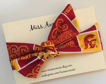 University of Southern California inspired headwrap, USC, Trojans bow, USC Trojans headwrap