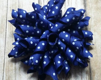 Blue with white polka dots korker bow, korker hair clip