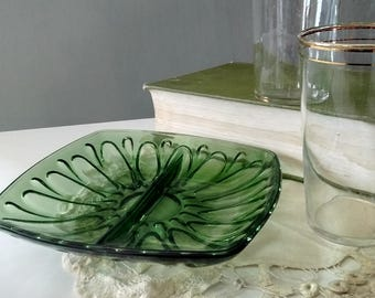 Green glass relish dish, divided serving dish, nut or candy dish