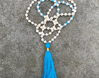 Long Beaded Blue / Aqua Tassel Necklace with Pearls, Blue Agate and Gold Pyrite