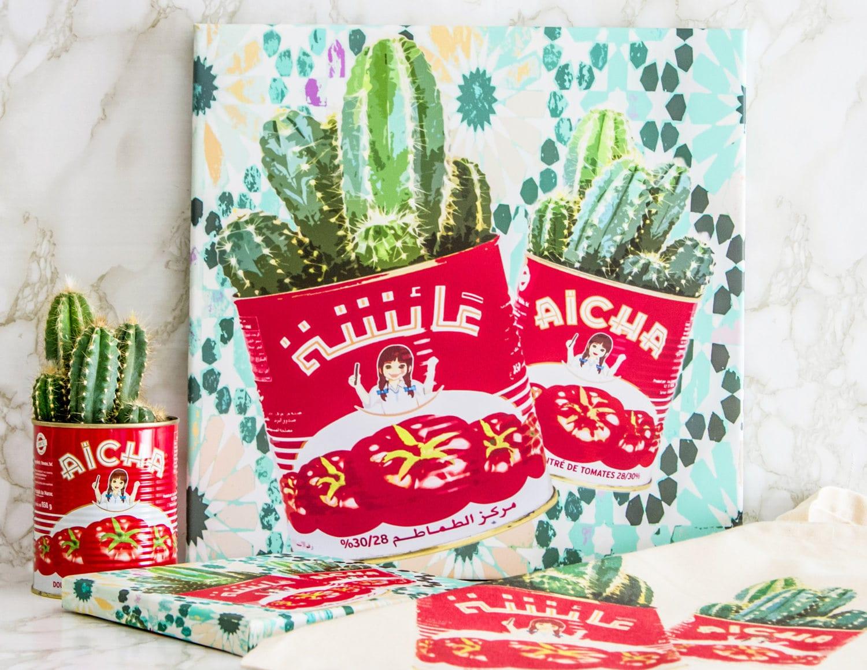 impression pop art sur toile cactus en conserve. Black Bedroom Furniture Sets. Home Design Ideas