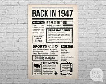 Back In 1947 Newspaper-Style DIGITAL Poster, 70th Birthday PRINTABLE Sign, 70th Birthday Poster, 70th Birthday Gift, 1947 Sign, 1947 Poster