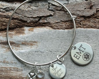 EMT Personalized Adjustable Wire Bangle Bracelet