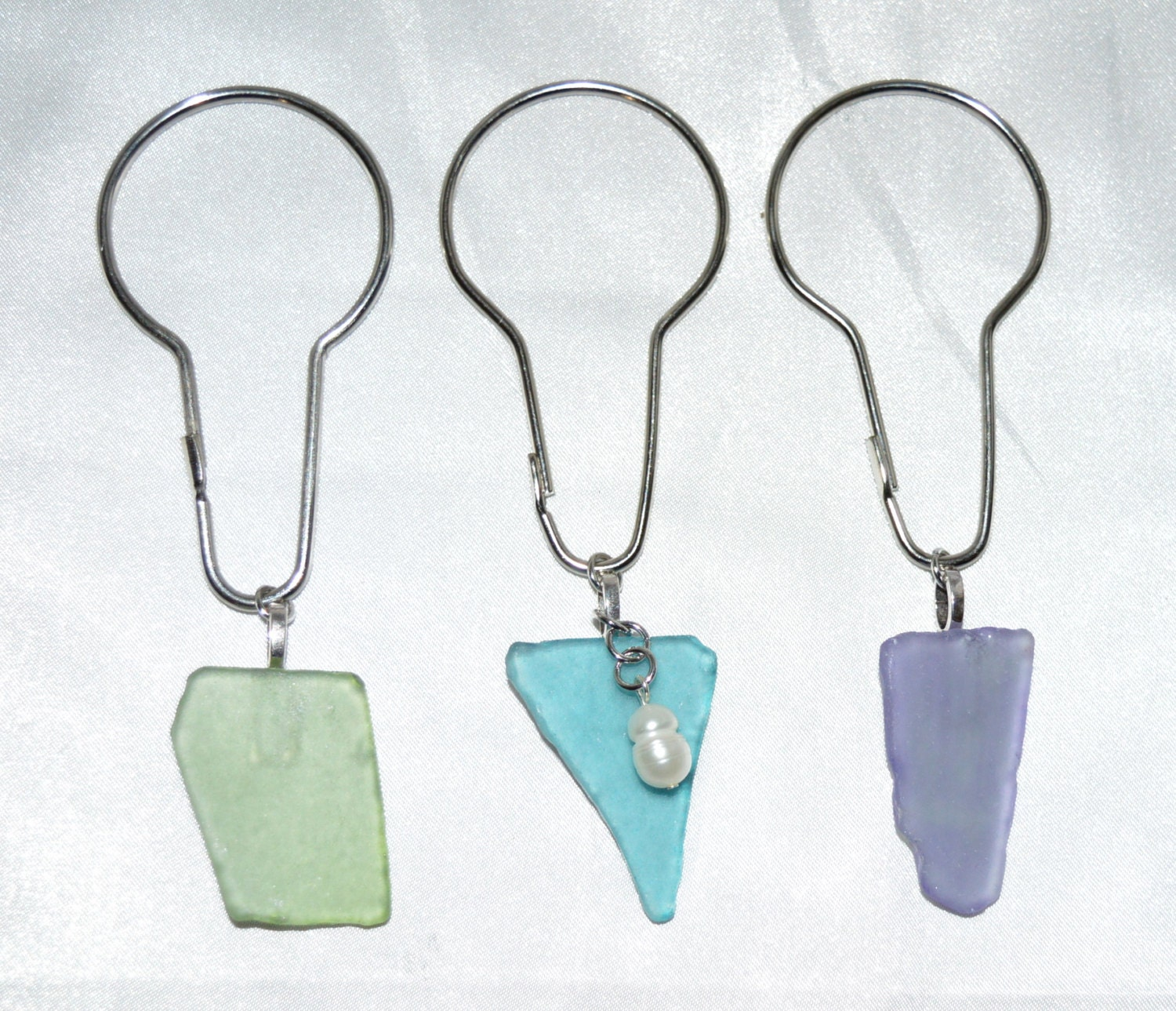 Sea Glass Shower Curtain Hooks Beach Glass Aqua Blue Pale
