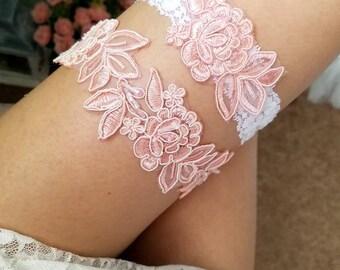 Peach wedding garter, peach pink garter, wedding garter peach, blush pink garter, lace garter, garter set pink, bridal garter pink, garter