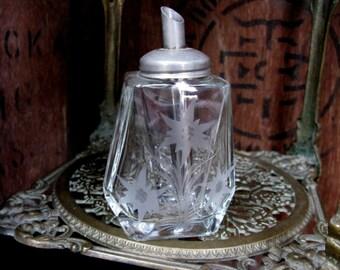 Glass Sugar Shaker, Vintage Sugar Shaker, Sugar Sifter,  Afternoon Tea, Engraved Sugar Shaker, Sugar Dispenser, Tea Time, Mid Century