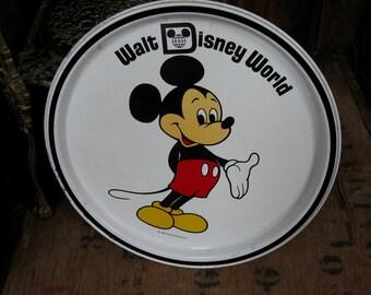 Walt Disney World Tray, Mickey Mouse Tray, Disney Tray, Disneyana, Disney Gift, Mickey Mouse Gift, Tea Tray, Round Tray, Vintage Disney