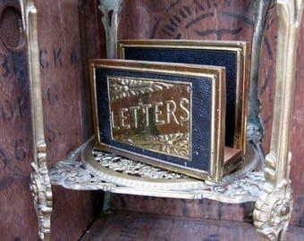 Brass Letter Rack, Vintage Letter Rack, Letter Holder, Mid Century, 1950s Decor, Vintage Office, Desk Tidy, Correspondence Rack, Mail Rack