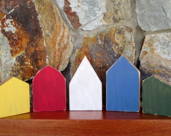 Hand painted wooden houses - Set of 5 small decorative wooden houses - Wooden painted village - Tiny rustic village - Little wooden houses