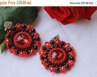 SALE 25% Sparkling red earrings bead earrings Gift Wife-evening earrings-Crystal Earrings seed bead gift for mother-agate earrings